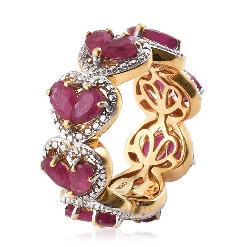 African Ruby (Pear) Heart Ring in Platinum and Yellow Gold Overlay Sterling Silver 4.750 Ct, Silver wt 5.00 Gms.