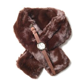 2 Piece Set- STRADA Japanese Movement Watch & Faux Fur Dark Brown Scarf (Size 78x9.5 Cm)