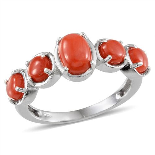 Natural Mediterranean Coral (Ovl) Ring in Platinum Overlay Sterling Silver 1.500 Ct.