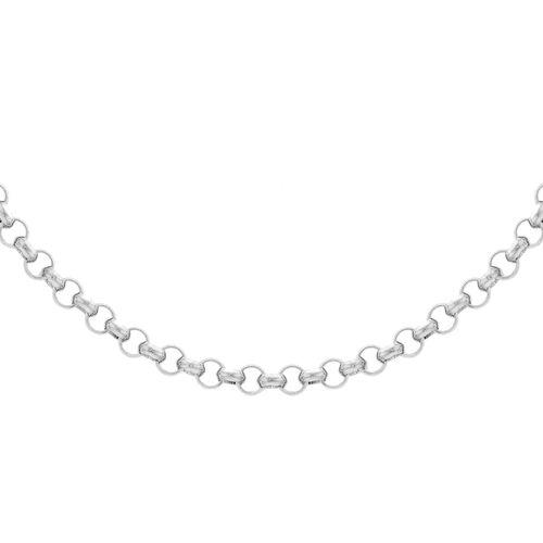 JCK Vegas Collection Round Belcher Chain in Rhodium Plated Silver 28 Inch