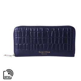Sencillez 100% Genuine Leather RFID Protected Croc Embossed Wallet (Size 19x2x10cm) - Metallic Black