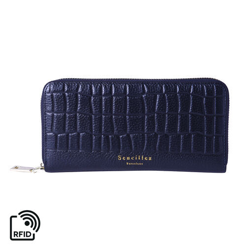 Sencillez 100% Genuine Leather RFID Protected Croc Embossed Wallet (Size 19x2x10cm) - Metallic Black