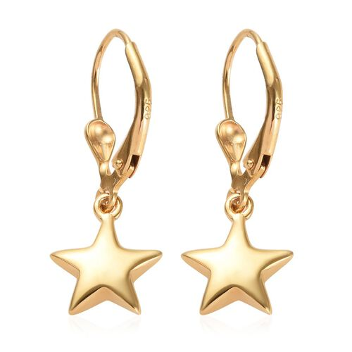 14K Gold Overlay Sterling Silver Star Lever Back Earrings, Silver wt 2.50 gms