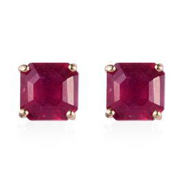 9K Yellow Gold African Ruby (Asscher Cut 6x6mm) Stud Earring  3.00  Ct.