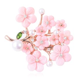 Jardin Collection Pink Mother of Pearl and Multi Gemstone Floral Brooch in Rose Gold Plated Silver