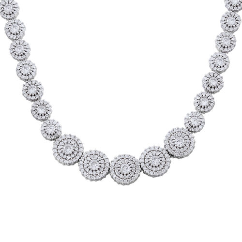 Designer Inspired ELANZA Simulated White Diamond (Rnd) Necklace (Size 16.50 ) in Rhodium Plated Ster