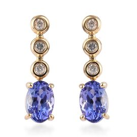 WEBEX-  9K Yellow Gold AA Tanzanite (Ovl 0.90 Ct) Diamond Earrings (with Push Back) 1.00 Ct.