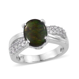 2.50 Ct Canadian Ammolite and Zircon Solitarie Ring in Platinum Plated Sterling Silver