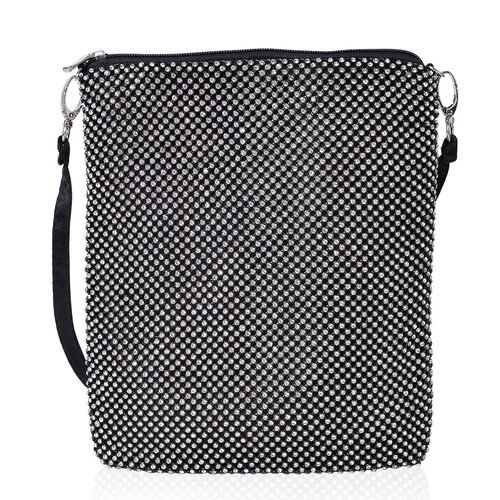 White Austrian Crystals Embellished Black Colour Crossbody Bag (Size 26X22 Cm) with Removable Shoulder Strap