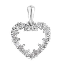Diamond (Rnd and Bgt) Heart Pendant in Platinum Overlay Sterling Silver 0.250  Ct.