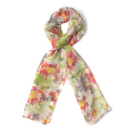 New for Season - 100% Mulberry Silk Red, Green and Pink Colour Floral Pattern Scarf (Size 175x50 Cm)