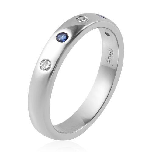 RHAPSODY 950 Platinum AAAA Tanzanite and Diamond (VS/E-F) Band Ring, Platinum wt 5.59 Gms