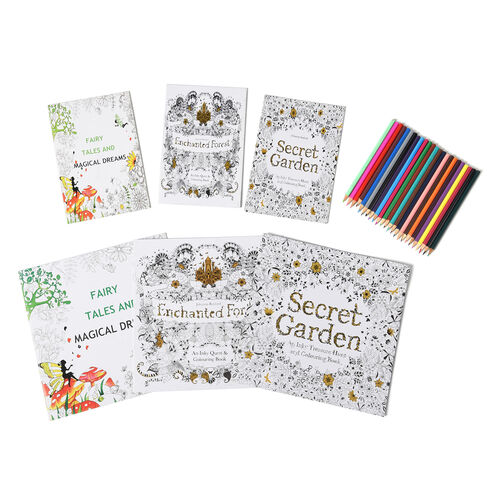 Set of 7 - Six Colouring Books with a Box of 24pcs Crayons (Fairy Tales and Magical Dreams, Secret G
