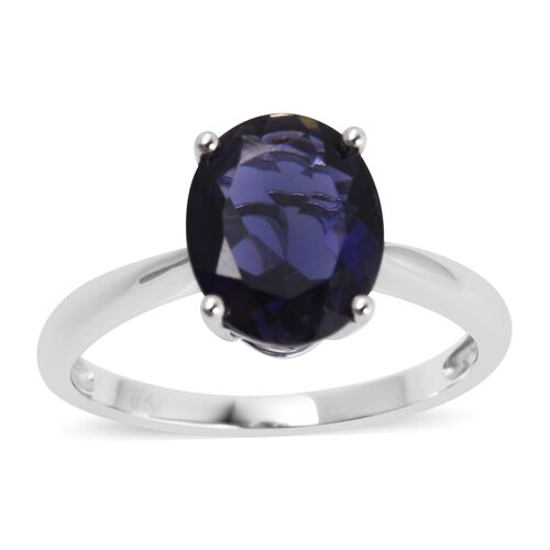 9K White Gold AA Iolite (Ovl 10x8 mm) Solitaire Ring 2.250 Ct.