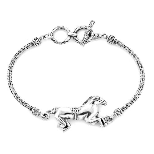 Royal Bali Collection - Sterling Silver Horse Tulang Naga Toggle Bar Bracelet (Size 7.5 with Extende