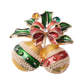 Christmas Multi Colour Austrian Crystal Enamelled Brooch in Yellow Gold Tone