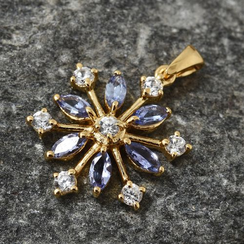 AA Tanzanite (Mrq), Natural Cambodian Zircon Snowflake Pendant in 14K Gold Overlay Sterling Silver 1.500 Ct.