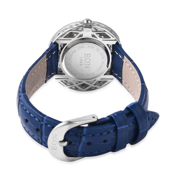 EON 1962 Swiss Movement Tanzanite (Rnd), Black Ceramic Water Resistant Watch in Rhodium Plating with Blue Leather Strap 11.40 Ct, Silver wt 17.00 Gms