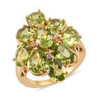 AA Hebei Peridot, Natural Cambodian Zircon Cluster Ring (Size S) in 14K Gold Overlay Sterling Silver 8.00 Ct,