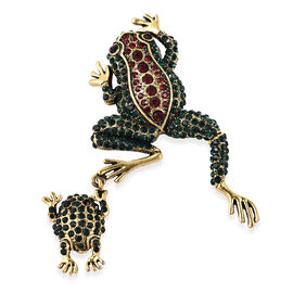 Black and Green Austrian Crystal Frog Pendant or Brooch in Gold Tone