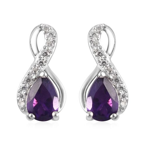 Amethyst, Natural Cambodian Zircon Drop Earrings (with Push Back) in Platinum Overlay Sterling Silve