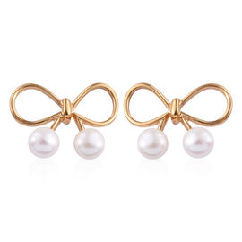 Freshwater Pearl (Rnd) Bow Knot Earrings in 14K Gold Overlay Sterling Silver