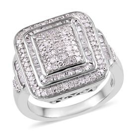 Diamond (Rnd and Bgt) Ring in Platinum Overlay Sterling Silver 0.75 Ct, Silver wt 5.58 Gms, Number o