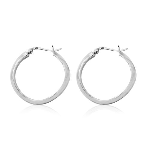 Sterling Silver Hoop Earrings (with Clasp), Silver wt 5.71 Gms.