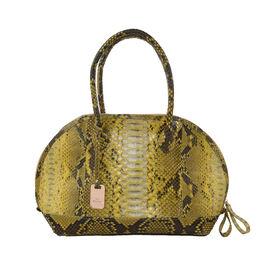 LA MAREY 100% Genuine Python Leather Snake Print Tote Bag with Zipper Closure (Size 31.5x25.5x14cm) - Beige & Multi