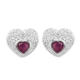 African Ruby (Hrt), Diamond Heart Stud Earrings (with Push Back) in Sterling Silver