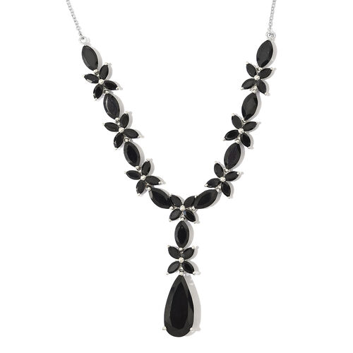 Boi Ploi Black Spinel (Pear) Floral Necklace (Size 18) in Platinum Overlay Sterling Silver 35.250 Ct