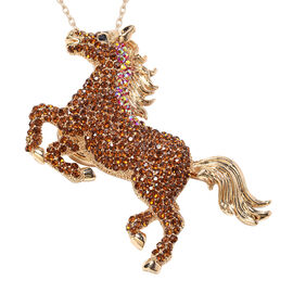 Multi Colour Austrian Crystal Horse Brooch or Pendant With Chain (Size 24) in Gold Plated