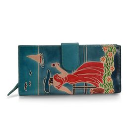 100% Genuine Leather RFID Blocker Hand Painted Lady at the Cruise Wallet (Size 22.75x3x11.5 Cm) - Bl