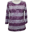 Auburn Brushed Striped Plum and Grey Top (Size S)