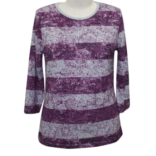 Auburn Brushed Striped Plum and Grey Top (Size XL)