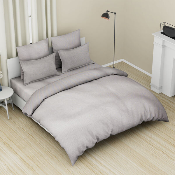 4 Piece Set - 100% Cotton Duvet Cover, 2 Pillow Case with Button Closure and Fitted Sheet (Size Doub