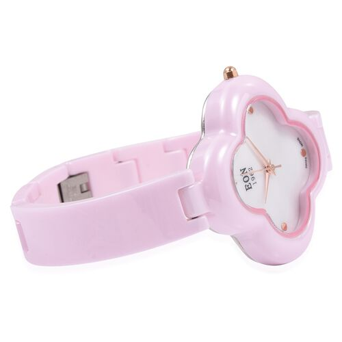 EON 1962 Diamond Swiss Movement Clover Pink HighTech Ceramic Watch -30 Mts Water Resistance