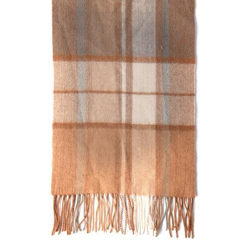 Plaid Pattern Wool Scarf (Size 30x167+8cm) - Light Brown