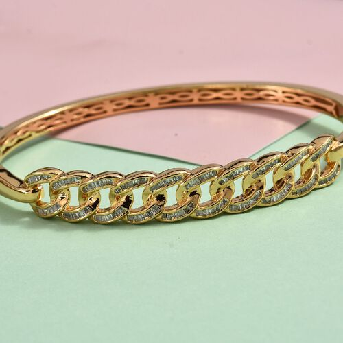 1 Ct Diamond Curb Link Bangle in 14K Gold Plated Silver 18 Grams 7.5 Inch