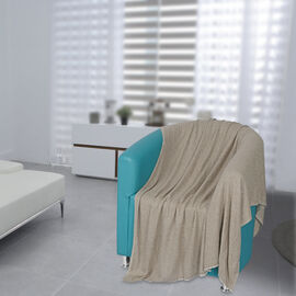 Natural Cashmere Wool Wave Design Throw Blanket  (Size 260x140 Cm) -  Beige