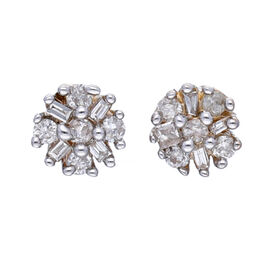 9K Yellow Gold Natural White Diamond (Rnd and Bgt) Starburst Stud Earrings (with Push Back)