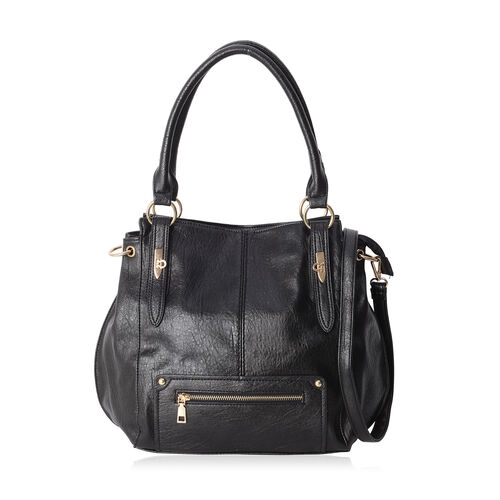 Classic Black Colour Large Tote Bag with Multi Pockets and Removable Shoulder Strap (Size 40x31.5x12