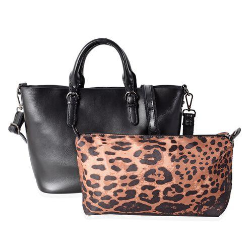 Set of 2 - 100% Genuine Leather Black Colour Hand Bag with Removable Shoulder Strap (Size 36x30x23.5x12.5 Cm) and Leopard Pattern Pouch (Size 28x19x10 Cm)