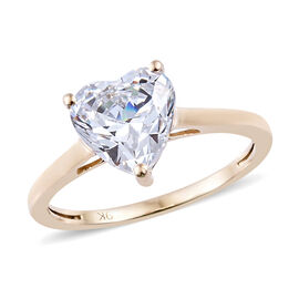 J Francis - 9K Yellow Gold (Hrt 8 mm) Solitaire Ring Made with SWAROVSKI ZIRCONIA