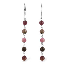 Multi-Tourmaline Hook Earrings in Platinum Overlay Sterling Silver 9.90 Ct.
