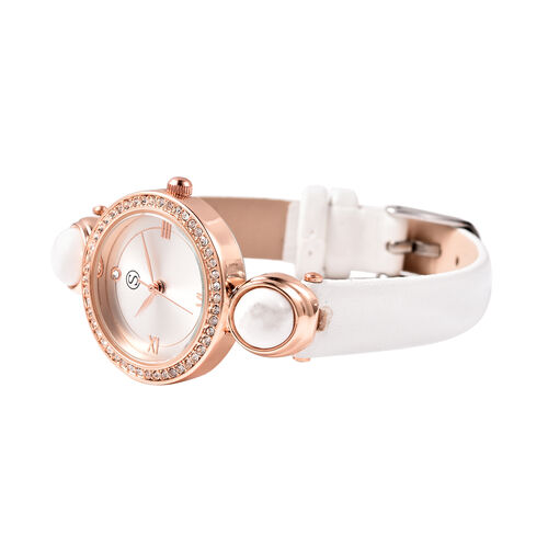 2 Piece Set - STRADA Japanese Movement White Howlite and White Austrian Crystal Studded Water Resistant Watch with White Strap and Pendant with Chain (Size 28) in Rose Gold Tone 16.00 Ct.