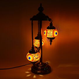 Handmade Turkish Moroccan Style 3 Globe Mosaic Glass Table Lamp with Bronze Base (Size 65x20 Cm) - R