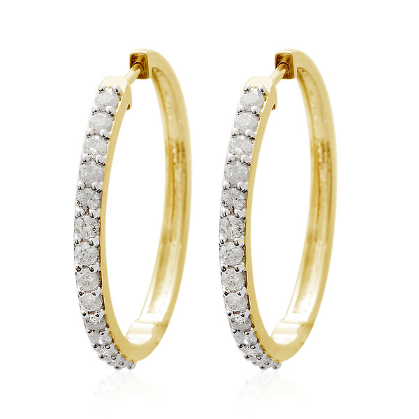 9K Yellow Gold SGL Certified Diamond (Rnd) (I3/G-H) Hoop Earrings (with Clasp Lock) 1.000 Ct, Gold w