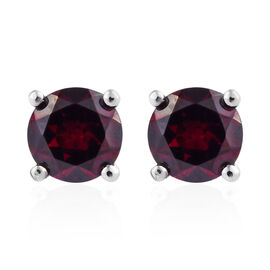 Rhodolite Garnet (Rnd) Stud Earrings (with Push Back) in Platinum Overlay Sterling Silver 1.250 Ct.