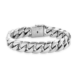 Royal Bali Collection Oxidised Sterling Silver Gourmette Bracelet (Size 8.5), Silver wt 115.00 Gms.